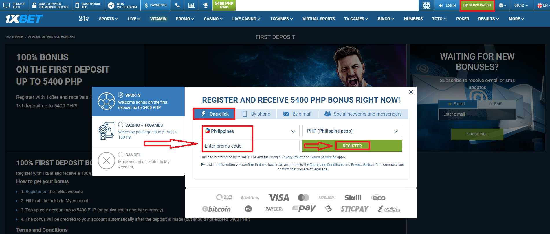Receive Your 1xBet Registration Bonus